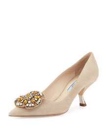 Jewel-Embellished Suede Pump, Natural