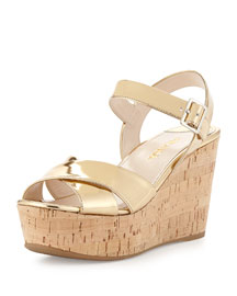 Patent Leather Cork Wedge Sandal, Navy