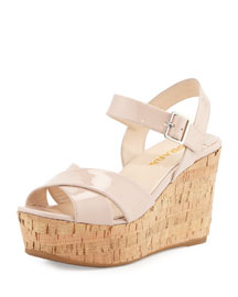 Patent Leather Cork Wedge Sandal, Natural