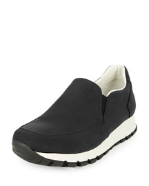 Tech Fabric Slip-On Sneaker, Black/White (Nero/Bianco)
