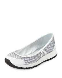 Mesh Slip-On Ballerina Sneaker, White (Bianco)