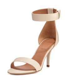 Elegant Ankle-Wrap Sandal, Beige