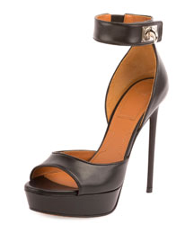 Leather Shark-Lock d'Orsay Sandal, Black