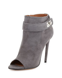 Suede Shark-Lock Open-Toe Bootie, Dark Gray