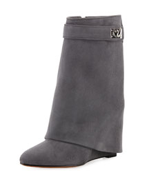 Suede Shark-Lock Fold-Over Boot, Dark Gray
