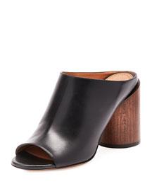 Calf Leather Mule Pump, Black/Brown