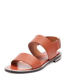Chain-Wrapped Two-Band Flat Sandal, Brick