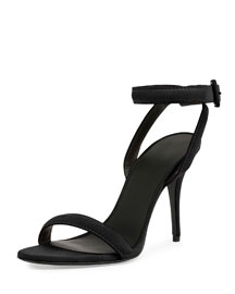 Antonia Suede Ankle-Wrap Sandal, Black