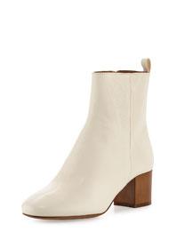 Drew Leather Block-Heel Boot, Ecru