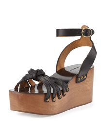 Zia Knotted Leather Sandal, Black