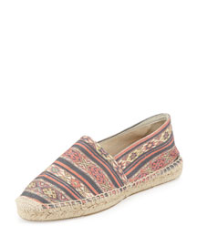 Cana Printed Canvas Espadrille Flat, Black/Rust
