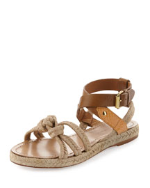 Camila Flat Twisted Rope Flat Sandal, Natural