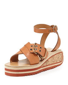 Zena Striped Wedge Sandal, Tan