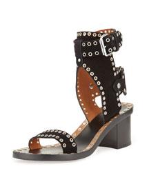 Jaeryn Grommet-Studded Suede Sandal, Black