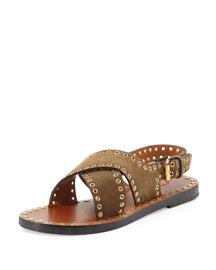 Jane Suede Grommet Flat Sandal, Brown