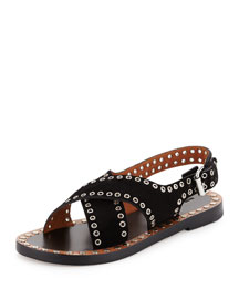 Jane Suede Grommet Flat Sandal, Black