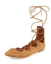 Leo Ankle-Wrap Ballerina Flat, Peach