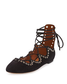Leo Studded Lace-Up Ballerina Flat, Black