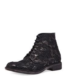 Floral-Lace Lace-Up Boot, Black
