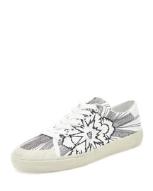 Bang-Embroidered Canvas Low-Top Sneaker, White