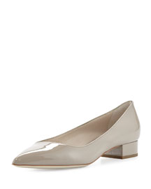 Asymmetric Patent Leather 25mm Pump, Light Gray