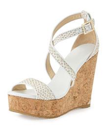 Portia Woven Wedge Sandal, White/Marble