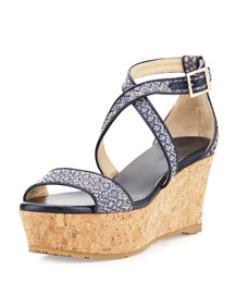 Portia Woven Wedge Sandal, Navy/Marble