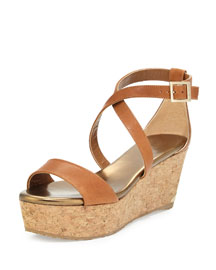 Portia Cork Wedge Sandal, Canyon