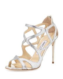 Leslie Curvy-Caged Glitter Sandal, Silver