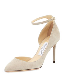 Lucy Half-d'Orsay Suede Pump, Marble