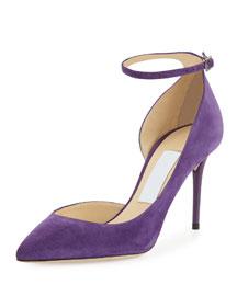 Lucy Half-d'Orsay Suede Pump, Boho Purple