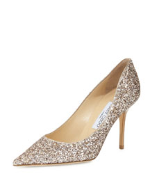 Agnes Glittered 85mm Pump, Nude