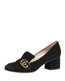 Marmont Fringe Suede 55mm Loafer, Black