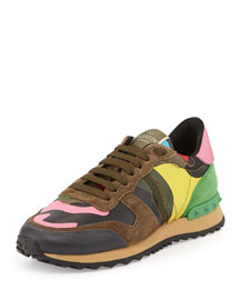 Psychedelic Camouflage Sneaker, Army Green/Multi