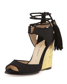 Tianjin Tassel Wedge Sandal, Black/Golden