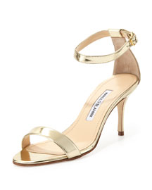 Chaos Patent Ankle-Strap Sandal, Gold