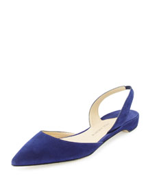 Rhea d'Orsay Slingback Flat, Lacquer Red