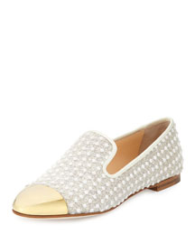 Cap-Toe Fabric Smoking Slipper, White/Gold (Bianco/Oro)