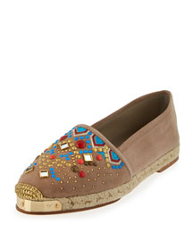 Bead-Embellished Suede Espadrille Flat, Taupe