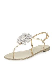 Metallic Crystal Flat Sandal, Platino