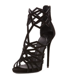 Suede Diamond-Cut Cage Sandal, Black (Nero)