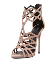 Suede Diamond-Cut Cage Sandal, Caramello