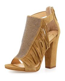 Studded Fringe Suede Block-Heel Sandal, Falasco