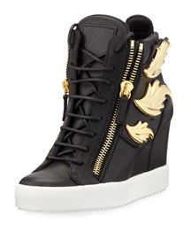 Metallic Wing Leather High-Top Wedge Sneaker, Black (Nero)