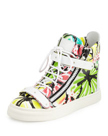 Brushstroke-Floral Leather High-Top Sneaker, Petra/Multi