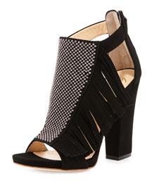 Studded Fringe Suede Block-Heel Sandal, Black (Nero)