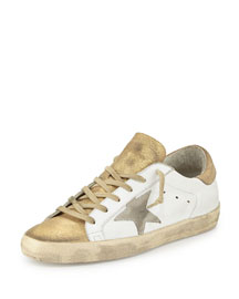 Star-Embellished Leather Sneaker, White/Gold