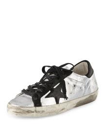 Star-Embellished Leather Sneaker, Silver/Black