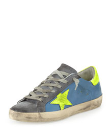 Star-Embellished Leather Sneaker, Blue/Yellow