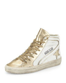 Star-Embellished Leather High-Top Sneaker, White/Gold